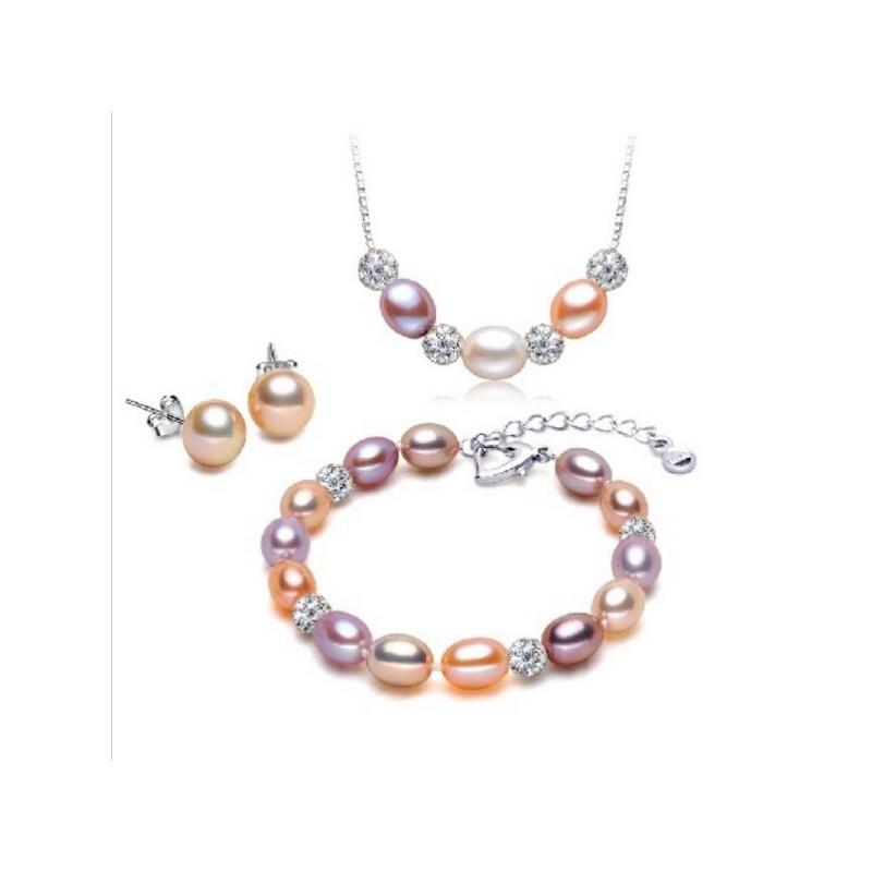 Fülbevaló, nyaklánc karlánc szett Swarovsky kristályokkal, gyöngyökkel.  00052ec
