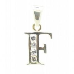 Ezüst F betű medál, Swarovski kristállyal