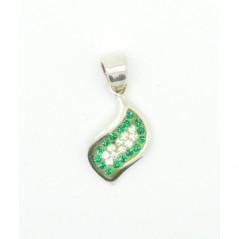 Ezüst medál zöld és fehér Swarovski kristállyal