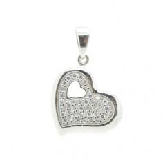 Ezüst medál szív, Swarovski kristállyal
