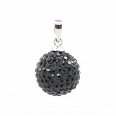 Fekete gömbl Swarovski kristályos medál.