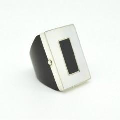 Fából készült gyűrű, ezüst díszítéssel 531as