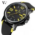 V6-os sárga-fekete férfi karóra, nemesacél tokkal. 328oc