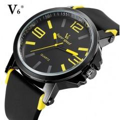V6-os sárga-fekete férfi karóra, V0175. 328oc