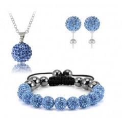 Swarovski kristályos szett. Nyaklánc, medál, karkötő, fülbevaló. V.kék. 114ec